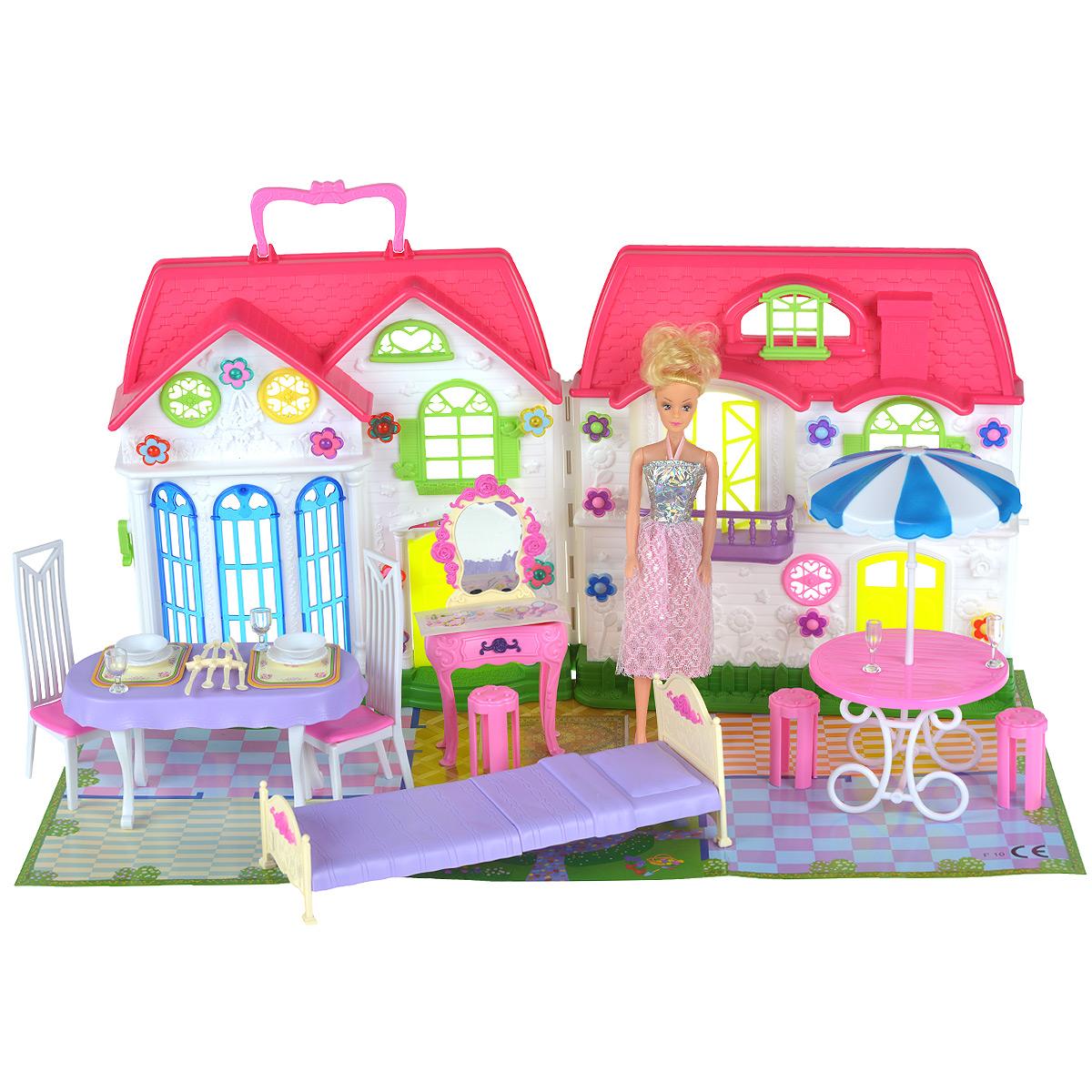WSBD World Игровой набор с куклой Дом для кукол3361Шикарный кукольный домик привлечет внимание вашей малышки и не позволит ей скучать. Комплект включает в себя пластиковый домик с аксессуарами для создания стильного интерьера и очаровательную куклу. Прекрасный дом с окошками и дверьми состоит из двух складывающихся створок, снабжен ручкой для переноски и оснащен световыми эффектами в виде светящихся лампочек. Куколка со светлыми волосами одета в великолепное нежно-голубое платье. Такой набор несомненно придется по душе вашему ребенку. Порадуйте свою принцессу таким замечательным подарком! Необходимо докупить 6 батареи типа АА напряжением 1,5V (не входят в комплект).