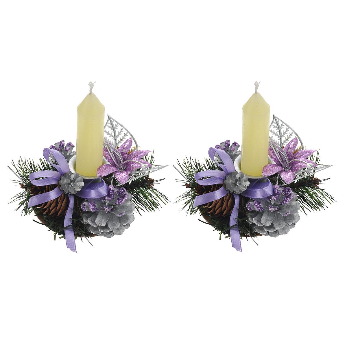 Набор подсвечников Sima-land Бантики, со свечами, цвет: фиолетовый, серебристый, 2 шт542662Набор Sima-land Бантики состоит из двух подсвечников, выполненных из металла. В набор так же входят две восковые свечи. Подсвечники представляют собой композицию из сосновых веточек с шишками, пластиковыми листьями, цветками и текстильными бантами. Композиция украшена блесками. Набор Sima-land Бантики украсит интерьер вашего дома или офиса в преддверии Нового года. Оригинальный дизайн и красочное исполнение создадут праздничное настроение. Диаметр отверстия для свечи: 2,5 см. Высота свечи (без учета фитиля): 8,5 см. Размер подсвечника: 10 см х 9 см х 4,5 см. Материалы: воск, металл, шишка натуральная, пластик, картон, пенопласт, текстиль.