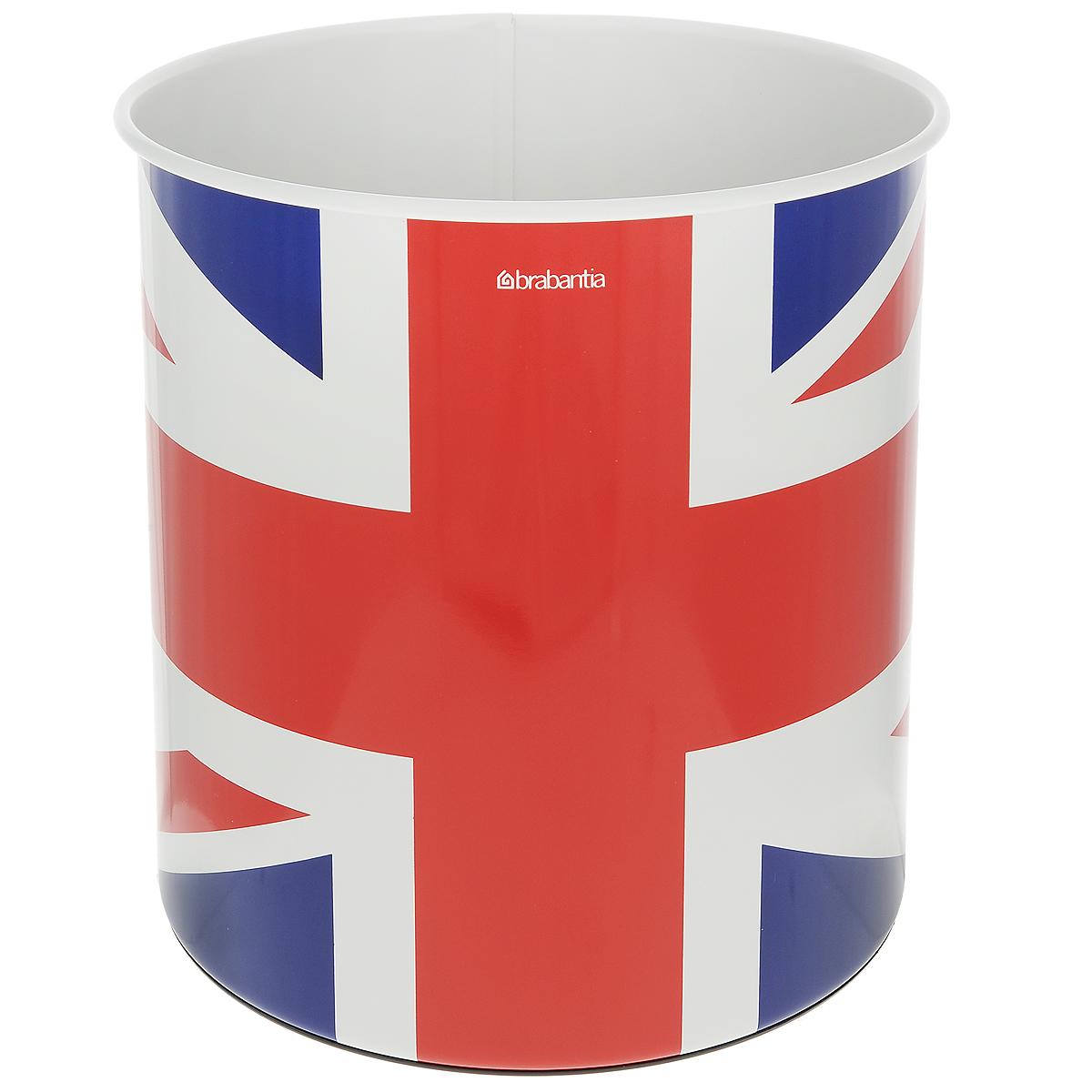 Корзина для бумаг Brabantia, 7 л. 479786479786Корзина для бумаг Brabantia изготовлена из нержавеющей стали, что обеспечивает долгий срок службы изделия и легкую очистку. Корзина декорирована изображением британского флага. Пластиковое основание корзины предотвращает повреждение пола. Корзина для бумаг поможет вам держать мелкий мусор в порядке в гостиной, спальне, офисе, кабинете и комнате ребенка.