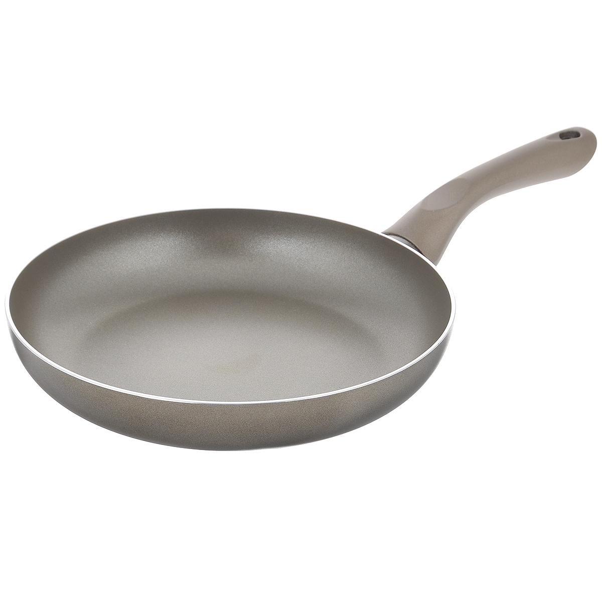Сковорода Beka Platinum, с антипригарным покрытием, цвет: серый. Диаметр 26 см40097264Сковорода Beka Platinum изготовлена из массивного литого алюминия с антипригарным покрытием. Это экологически чистое покрытие, которое безопасно для здоровья человека, так как не содержит вредных соединений PFOA. В случае перегрева не выделяет опасных веществ. В сковороде с таким покрытием пища не пригорает и не прилипает к стенкам, поэтому готовить можно с минимальным количеством масла. Максимальная температура нагрева +220°C. Сковорода снабжена удобной бакелитовой ручкой. Рекомендуется использовать деревянные или пластиковые лопатки. Подходит для приготовления пищи на газовых, электрических, керамических и галогеновых плитах. Не пригодна для приготовления пищи на индукционной плите. Можно мыть в посудомоечной машине.