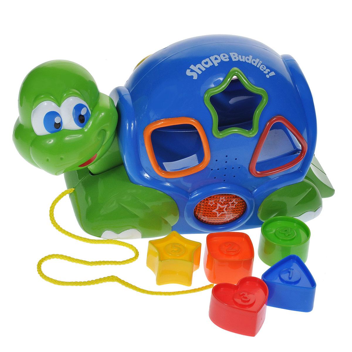 Игрушка-сортер Keenway Черепашка, 6 предметов31538Яркая игрушка-сортер Keenway Черепашка - это уникальная игрушка, сочетающая в себе увлекательное обучение и настоящее веселье. Она выполнена из прочного пластика ярких цветов в виде симпатичной черепашки с необычным панцирем. В комплект с игрушкой входят пять пронумерованных формочек в виде квадрата, треугольника, звездочки, круга и сердечка. На панцире черепашки имеются специальные отверстия. На разноцветных формочках - цифры от 1 до 5. Задача малыша состоит в том, чтобы опустить формочку в соответствующее ей отверстие. Если фигурка подобрана правильно, игрушка издает ободряющий звук. Если нажать на голову черепахи, то вложенные формочки выкатятся из игрушки, будут звучать веселые мелодии и мигать огоньки, ободряя ребенка и приглашая к новой игре. Черепашка дополнена колесиками, благодаря чему кроха сможет возить ее за собой, потянув за шнурок. Игрушка-сортер поможет малышу развить цветовое и звуковое восприятие, логическое мышление, моторику рук, координацию движений,...