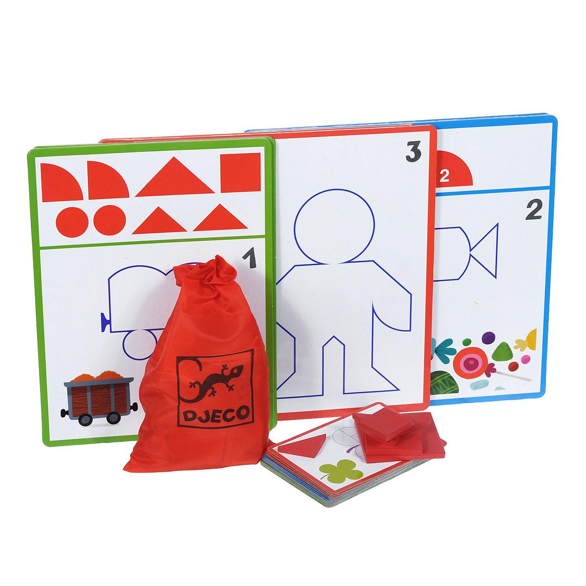 Обучающая игра Djeco Фигуры08300Обучающая игра Djeco Фигуры с нарастающим уровнем сложности познакомит вашего ребенка с различными геометрическими фигурами и наглядно объяснит ему, как из одних геометрических форм можно получить другие и как комбинировать их друг с другом. Цель игры - составить из отдельных элементов силуэтную форму, изображенную на карточке. В комплект игры входят: 24 картонные двусторонние карточки трех размеров, 36 деревянных элементов красного цвета и текстильный мешочек для их хранения, затягивающийся сверху на кулиску. На обратной стороне коробки предусмотрены правила игры на русском языке. Рекомендуемый возраст: от 3 до 6 лет.