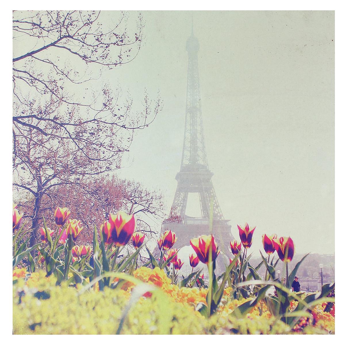 Картина-репродукция Париж, без рамки, 30 см х 30 см. 3600436004Картина-репродукция Париж, выполненная из МДФ масляной печатью с ручной подрисовкой, дополнит интерьер любого помещения, а также может стать изысканным подарком для ваших друзей и близких. На картине изображены тюльпаны и Эйфелева башня. Благодаря оригинальному дизайну картина может использоваться для оформления любых интерьеров: гостиной, спальни, кухни, прихожей, детской или офиса. Обратная сторона картины оснащена отверстием для подвешивания на стену. Такая картина - вдохновляющее декоративное решение, привносящее в интерьер нотки творчества и изысканности!