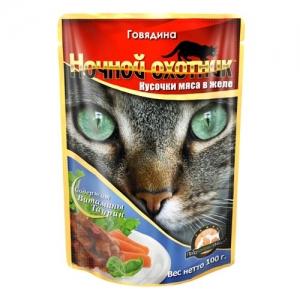 Консервы для взрослых кошек Ночной охотник, с говядиной в желе, 100 г17145Консервы для взрослых кошек Ночной охотник с говядиной в желе изготовлены из натурального мяса, не содержат сои, консервантов и ГМО продуктов. В состав корма входят питательные вещества, белки, минеральные вещества, витамины, таурин и другие компоненты, необходимые кошке для ежедневного сбалансированного питания. Состав: говядина не менее 10%, мясо птицы и субпродукты животного происхождения: телятина не менее 10%, мясо ягненка не менее 10%, говядина не менее 10%, курица не менее 10%, злаки, растительное масло, минеральные вещества, таурин, витамины А, D, E. Пищевая ценность в 100 г: сырой белок - 8%, сырой жир - 3,5%, сырая клетчатка - 0,4%, кальций - 0,25%, фосфор - 0,3%, сырая зола - 2%, влажность 80%. Вес: 100 г. Энергетическая ценность: 80 ккал. Товар сертифицирован.