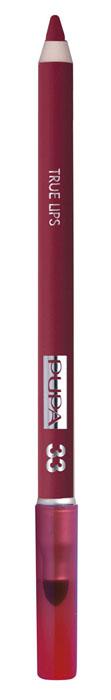 PUPA Карандаш для губ с аппликатором True Lips Pencil тон №33 бордо, 1.2 г025633Контурный карандаш для губ с аппликатором для растушёвки True Lips очерчивает губы, придавая им контур, с помощью яркого насыщенного цвета. Мягкая, пластичная и очень приятная текстура позволяет идеально прорисовывать контур губ. Очень легко наносится и даёт возможность двойного применения: - самостоятельное использование карандаша на всей поверхности губ для создания изысканного матового эффекта. - применение карандаша перед нанесением помады для увеличения её стойкости. Цветовая гамма состоит из 16 восхитительных оттенков, которые идеально подходят для одновременного применения с помадами Im.