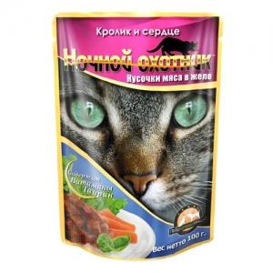 Консервы для взрослых кошек Ночной охотник, с кроликом и сердцем в желе, 100 г55834Консервы для взрослых кошек Ночной охотник с кроликом и сердцем в желе изготовлены из натурального мяса, не содержат сои, консервантов и ГМО продуктов. В состав корма входят питательные вещества, белки, минеральные вещества, витамины, таурин и другие компоненты, необходимые кошке для ежедневного сбалансированного питания. Состав: мясо и субпродукты животного происхождения (в т.ч. мясо кролика не менее 10%, сердце не менее 10%), злаки, растительное масло, минеральные вещества, таурин, витамины А, D3, E. Пищевая ценность в 100 г: сырой белок - 8%, сырой жир - 3,5%, сырая клетчатка - 0,4%, кальций - 0,25%, фосфор - 0,3%, сырая зола - 2%, влажность 80%. Вес: 100 г. Энергетическая ценность: 80 ккал. Товар сертифицирован.