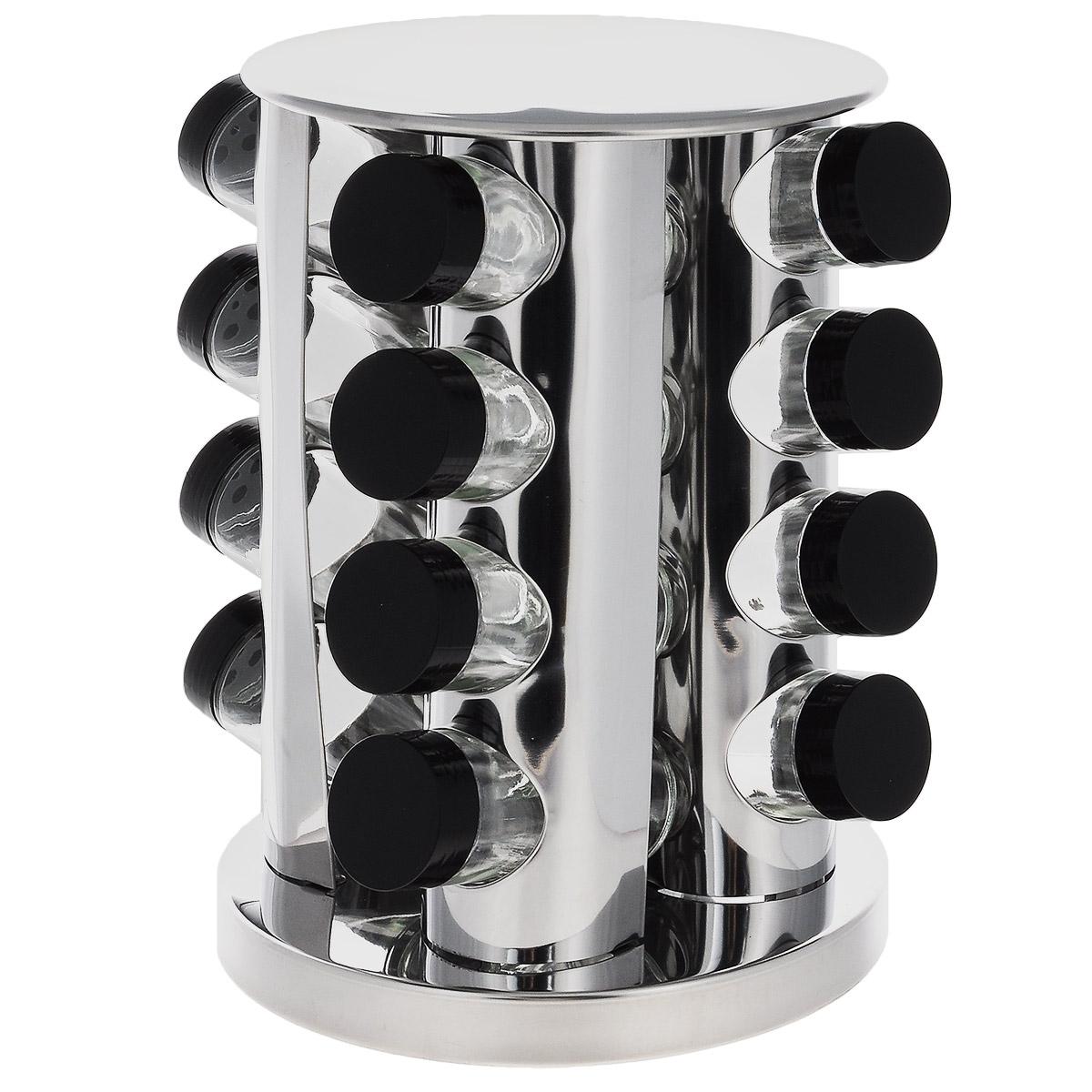 Набор для специй Mayer & Boch, 17 предметов. 2329223292Набор для специй Mayer & Boch состоит из 16 баночек для специй и подставки. Баночки выполнены из высококачественного стекла и оснащены пластиковыми крышками черного цвета. Крышки плотно закручиваются, предотвращая просыпание. Герметичное закрытие обеспечит самое лучшее хранение: специи всегда будут свежими. Прозрачные стенки позволяют видеть содержимое баночек. Баночки можно наполнять любыми используемыми вами специями. Стильная вращающаяся подставка, изготовленная из нержавеющей стали, делает хранение баночек более удобным. Данный набор подходит для любой кухни. Модный, элегантный дизайн сделает набор прекрасным украшением кухни. Наслаждайтесь приготовлением пищи с набором для специй Mayer & Boch. Объем баночки: 85 мл. Диаметр баночки: 4,3 см. Высота баночки: 9,5 см. Размер подставки (ДхШхВ): 19 см х 19 см х 28 см.