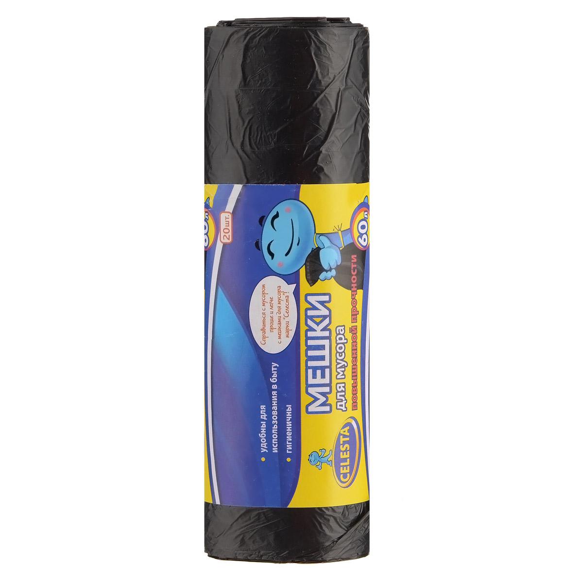Мешки для мусора Celesta, цвет: черный, 60 л, 20 шт825435Мешки для мусора Celesta применяются для хранения и транспортировки бытовых мусорных и продуктовых отходов. Суперпрочные и гигиеничные. Удобны для использования в быту. Мешки быстро и просто отрываются по линии перфорации.