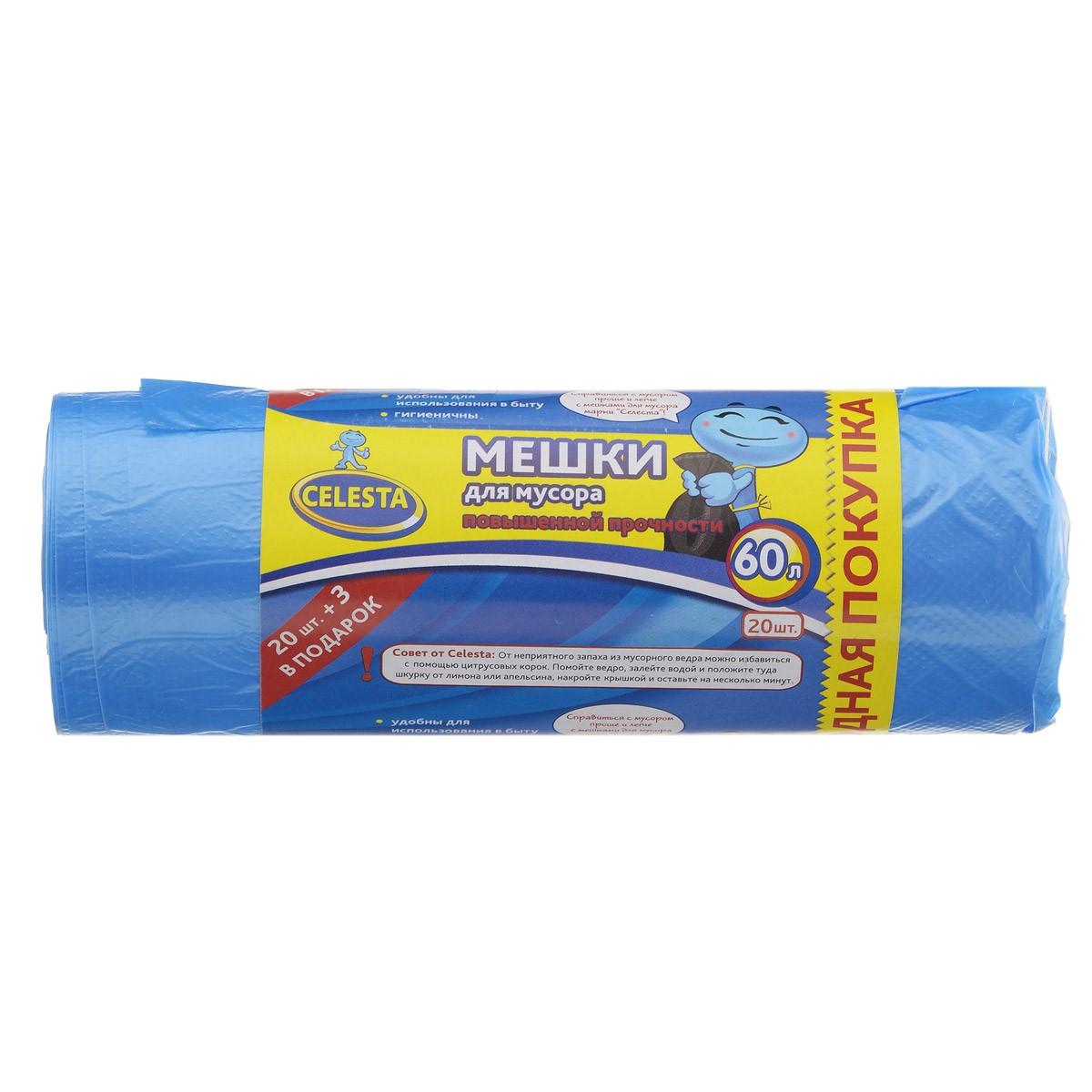 Мешки для мусора Celesta, цвет: синий, 60 л, 20 шт825435 сМешки для мусора Celesta применяются для хранения и транспортировки бытовых мусорных и продуктовых отходов. Удобны для использования в быту. Суперпрочные и гигиеничные. Мешки быстро и просто отрываются по линии перфорации. Материал: полиэтилен. Объем: 60 л. Количество мешков: 20 шт.