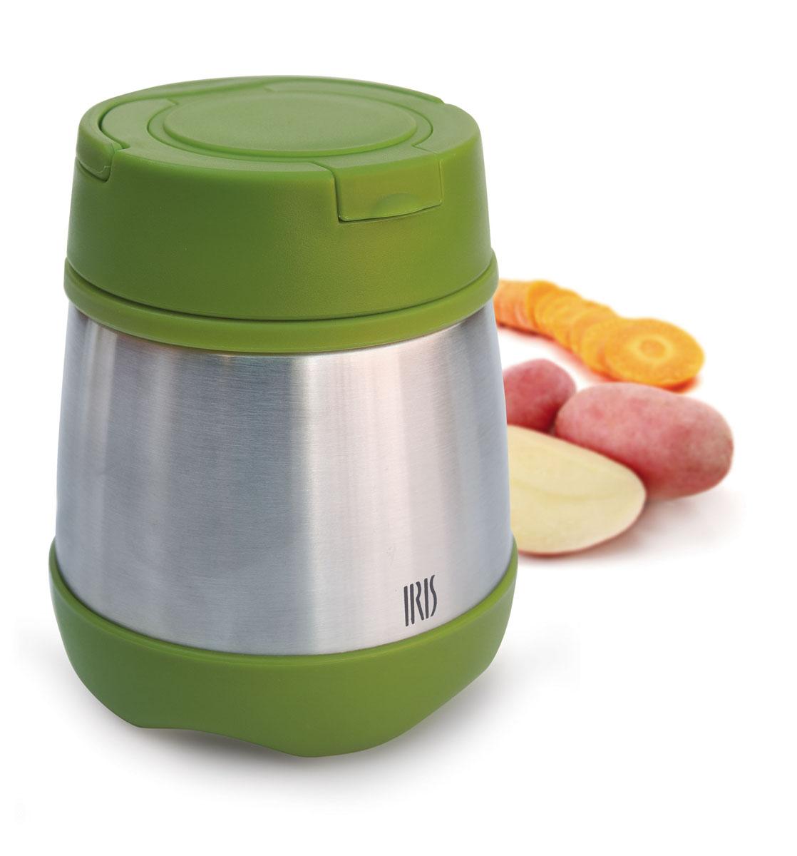 IRIS Термос с ложечкой 350мл/ Зеленый8303-IВакуумный термос с теплоизолирующей крышкой. Идеально сохраняет еду вашего малыша теплой долгое время. До 5 часов сохраняет температуру (как горячей, так и холодной еды). 100% герметичный, не содержит Бисфенола А. В конструкции предусмотрено специальное отделение со складной ложечкой. А также есть откидная ручка для переноски (справится даже малыш).