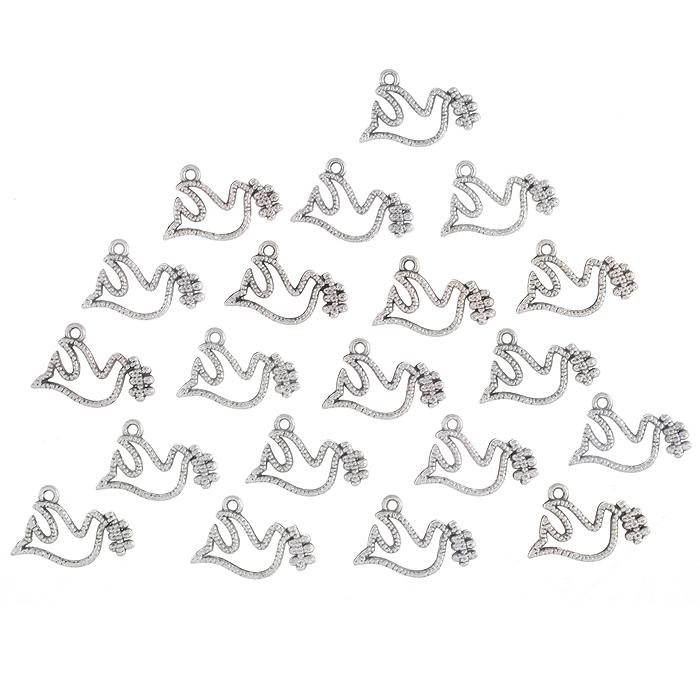 Подвеска металлическая Астра, цвет: серебристый, 20 мм х 15 мм, 20 шт7705731Набор Астра состоит из 20 декоративных подвесок, изготовленных из металла в виде птичек. С их помощью вы сможете украсить фотографию, альбом, одежду, подарок и другие предметы ручной работы. Все подвески в наборе имеют оригинальный и яркий дизайн.