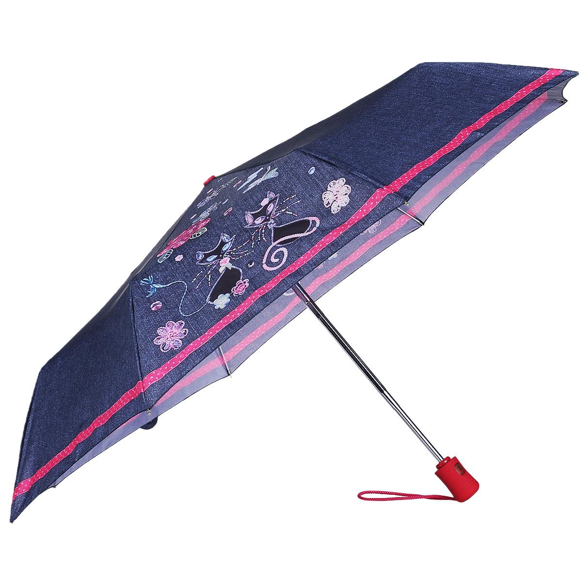 """Зонт женский Fulton Perdy & Princess, автомат, 3 сложения, цвет: серый, розовый. R346R346_темно-синий_КошкиСтильный зонт Fulton """"Perdy & Princess"""" даже в ненастную погоду позволит вам оставаться женственной и элегантной. """"Ветростойкий"""" каркас зонта в 3 сложения состоит из восьми алюминиевых спиц с элементами из фибергласса, стержень выполнен из стали. Зонт оснащен удобной рукояткой из прорезиненного пластика. Купол зонта выполнен из прочного полиэстера и оформлен изображением кошек и цветов. На рукоятке для удобства есть небольшой шнурок, позволяющий надеть зонт на руку тогда, когда это будет необходимо. К зонту прилагается чехол. Зонт автоматического сложения: купол открывается и закрывается нажатием на кнопку, стержень складывается вручную до характерного щелчка. Характеристики: Материал: алюминий, фибергласс, пластик, полиэстер, сталь. Длина зонта в сложенном виде: 27,5 см. Длина ручки (стержня) в раскрытом виде: 48 см."""