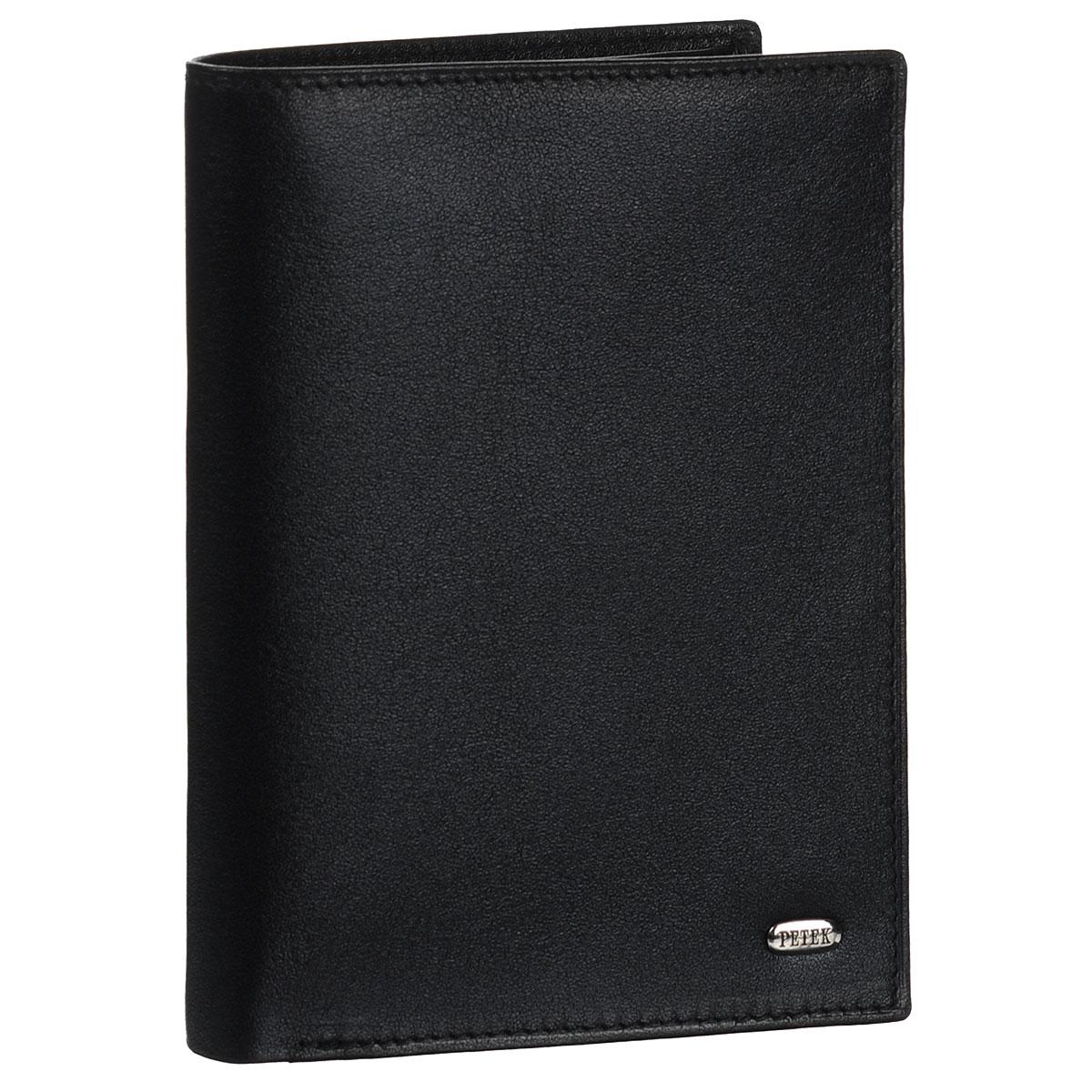 Обложка для паспорта и портмоне Petek, цвет: черный. 597.000.01597.000.01Обложка для паспорта и портмоне не только поможет сохранить внешний вид ваших документов и защитить их от повреждений, но и станет стильным аксессуаром, идеально подходящим вашему образу. Обложка выполнена из натуральной кожи. На внутреннем развороте имеются два отделения для купюр, два кармана с сетчатыми вставками, пять кармашков для пластиковых карт, один вертикальный карман и два дополнительных кармашка для бумаг. Упакована обложка в фирменную картонную коробку. Такая обложка станет замечательным подарком человеку, ценящему качественные и практичные вещи.