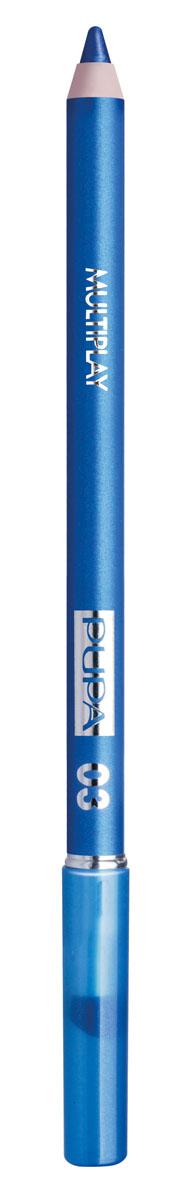 PUPA Карандаш для век с аппликатором Multiplay Eye Pencil, тон 03 небесно-синий , 1.2 г244003Pupa Multiplay - карандаш для глаз 3 в 1. Сочетает в себе эффект карандаша для глаз для интенсивного цвета, эффект подводки и эффект теней для век. В состав карандаша входит масло жожоба, витамин Е и масло семени хлопчатника для защитного и успокоительного эффекта. Исключительная кремообразная текстура и латексный аппликатор обеспечивают легкое и безупречное нанесение.