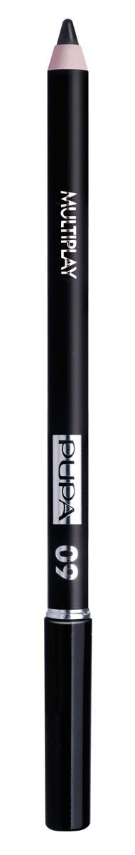 PUPA Карандаш для век с аппликатором Multiplay Eye Pencil, тон 09 черный , 1.2 г244009Pupa Multiplay - карандаш для глаз 3 в 1. Сочетает в себе эффект карандаша для глаз для интенсивного цвета, эффект подводки и эффект теней для век. В состав карандаша входит масло жожоба, витамин Е и масло семени хлопчатника для защитного и успокоительного эффекта. Исключительная кремообразная текстура и латексный аппликатор обеспечивают легкое и безупречное нанесение.
