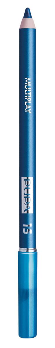 PUPA Карандаш для век с аппликатором Multiplay Eye Pencil, тон 15 сине-зеленый , 1.2 г244015Pupa Multiplay - карандаш для глаз 3 в 1. Сочетает в себе эффект карандаша для глаз для интенсивного цвета, эффект подводки и эффект теней для век. В состав карандаша входит масло жожоба, витамин Е и масло семени хлопчатника для защитного и успокоительного эффекта. Исключительная кремообразная текстура и латексный аппликатор обеспечивают легкое и безупречное нанесение.