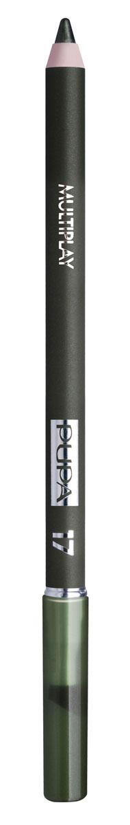 PUPA Карандаш для век с аппликатором Multiplay Eye Pencil, тон 17 еловый зеленый , 1.2 г244017Pupa Multiplay - карандаш для глаз 3 в 1. Сочетает в себе эффект карандаша для глаз для интенсивного цвета, эффект подводки и эффект теней для век. В состав карандаша входит масло жожоба, витамин Е и масло семени хлопчатника для защитного и успокоительного эффекта. Исключительная кремообразная текстура и латексный аппликатор обеспечивают легкое и безупречное нанесение.