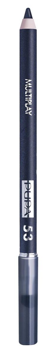 PUPA Карандаш для век с аппликатором Multiplay Eye Pencil тон 53 Полночный синий,1,2 гр.244053Контурный карандаш для глаз Multiplay тройного действия с аппликатором для растушёвки подчёркивает взгляд с помощью интенсивного и однородного цвета, которой обладает безупречной стойкостью. Мягкая и очень пластичная текстура обеспечивает лёгкое и быстрое нанесение.