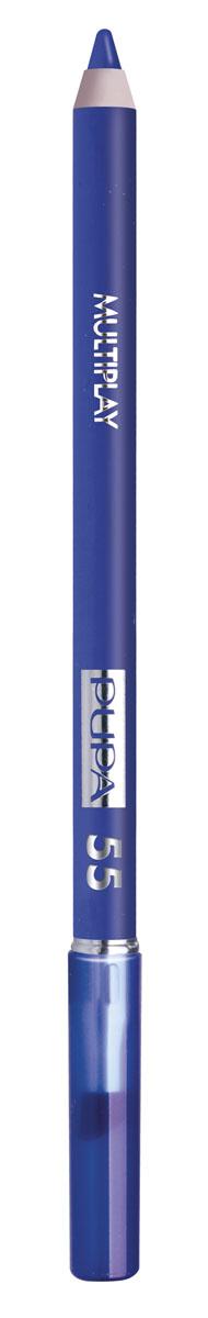 PUPA Карандаш для век с аппликатором Multiplay Eye Pencil тон 55 Электрик синий,1,2 гр.244055Контурный карандаш для глаз Multiplay тройного действия с аппликатором для растушёвки подчёркивает взгляд с помощью интенсивного и однородного цвета, которой обладает безупречной стойкостью. Мягкая и очень пластичная текстура обеспечивает лёгкое и быстрое нанесение.