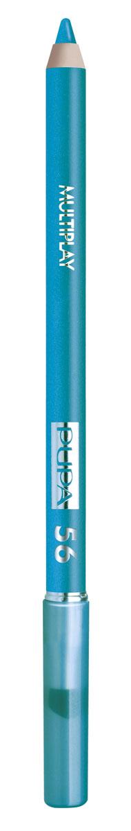 PUPA Карандаш для век с аппликатором Multiplay Eye Pencil тон 56 синий,1,2 гр.244056Контурный карандаш для глаз Multiplay тройного действия с аппликатором для растушёвки подчёркивает взгляд с помощью интенсивного и однородного цвета, которой обладает безупречной стойкостью. Мягкая и очень пластичная текстура обеспечивает лёгкое и быстрое нанесение.