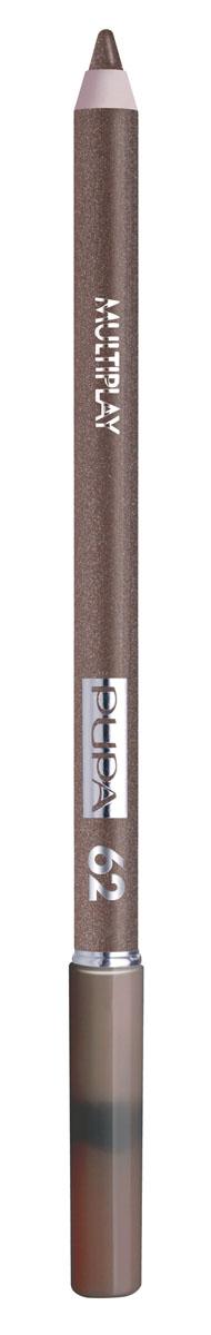 PUPA Карандаш для век с аппликатором Multiplay Eye Pencil тон№62 золотой коричневый, 1.2 г244062Контурный карандаш для глаз Multiplay тройного действия с аппликатором для растушёвки подчёркивает взгляд с помощью интенсивного и однородного цвета, которой обладает безупречной стойкостью. Мягкая и очень пластичная текстура обеспечивает лёгкое и быстрое нанесение.