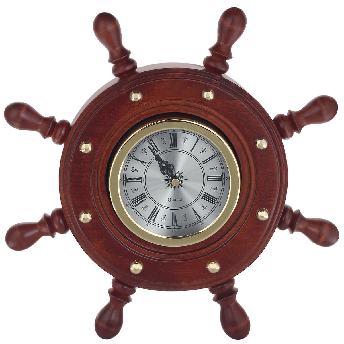 Часы настенные Штурвал. ШЧСТ-С8ШЧСТ-С8Стильные интерьерные часы выполнены в виде штурвала. Дизайн изделия основан на контрастном сочетании стекла, дерева и металла. Часы с кварцевым механизмом оснащены двумя стрелками - часовой и минутной. Циферблат оформлен римскими цифрами и защищен стеклом. На задней стенке часов предусмотрено крепление для подвешивания. Часы послужат отличным подарком и предметом коллекционирования. Характеристики: Диаметр циферблата: 10 см. Размер корпуса: 33 см х 33 см х 3,5 см.