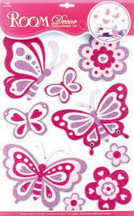 Наклейки для интерьера Room Decoration Волшебные бабочки, 41 х 29 смEVA6104Наклейки для стен и предметов интерьера Room Decoration Волшебные бабочки, изготовленные из экологически безопасной самоклеящейся виниловой пленки - это удивительно простой и быстрый способ оживить интерьер помещения. На одном листе расположены 9 наклеек в виде цветов и бабочек. Наклейки декорированы блестками. Интерьерные наклейки дадут вам вдохновение, которое изменит вашу жизнь и поможет погрузиться в мир ярких красок, фантазий и творчества. Для вас открываются безграничные возможности придумать оригинальный дизайн и придать новый вид стенам и мебели. Наклейки абсолютно безопасны для здоровья. Они быстро и легко наклеиваются на любые ровные поверхности: стены, окна, двери, кафельную плитку, виниловые и флизелиновые обои, стекла, мебель. При необходимости удобно снимаются, не оставляют следов и не повреждают поверхность (кроме бумажных обоев). Наклейки Room Decoration Волшебные бабочки помогут вам изменить интерьер вокруг себя: в детской комнате и...