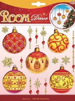 Наклейки для интерьера Room Decoration Новогодние шары, объемные, цвет: красный, золотистый, 18 см х 18 см. POX6658POX6658