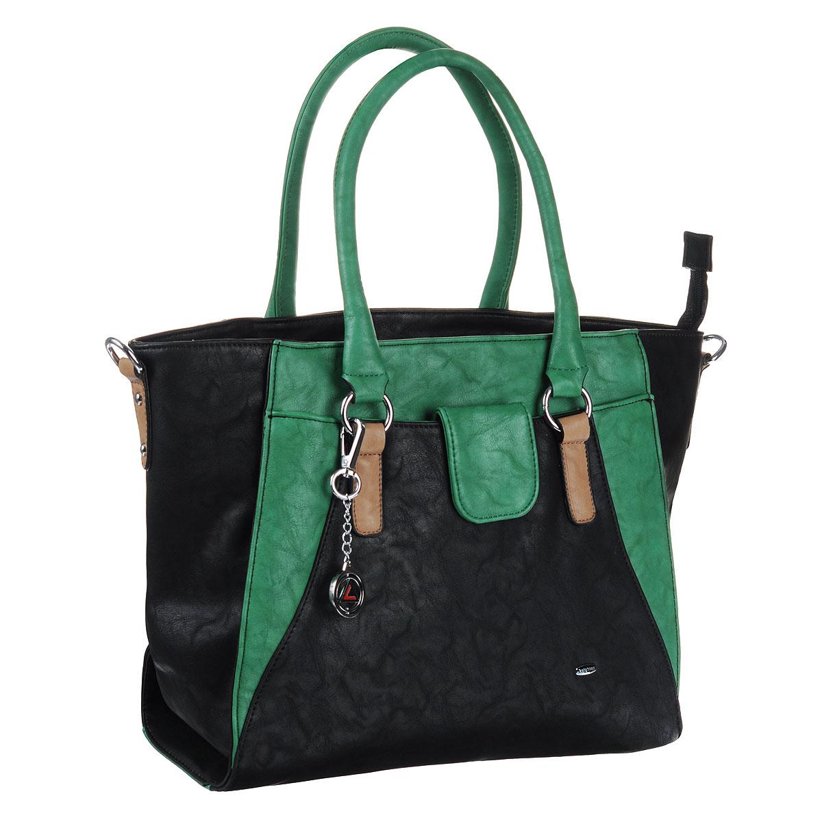 Сумка женская Leighton, цвет: черный, зеленый. 580423-6090/1112/501/6095 ( 580423-6090/1112/501/6095 )