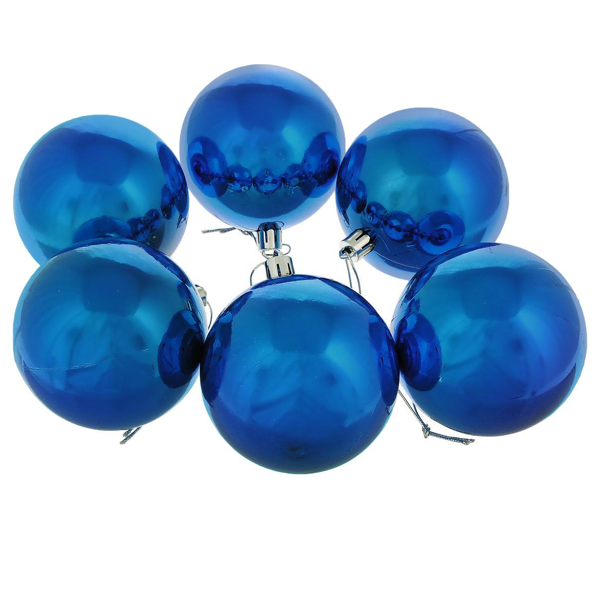 Набор новогодних подвесных украшений Sima-land Шар, цвет: синий, диаметр 8 см, 6 шт. 735668735668Набор новогодних подвесных украшений выполнен из высококачественного пластика в форме шаров. С помощью специальной петельки украшение можно повесить в любом понравившемся вам месте. Но, конечно, удачнее всего такой набор будет смотреться на праздничной елке. Елочная игрушка - символ Нового года. Она несет в себе волшебство и красоту праздника. Создайте в своем доме атмосферу веселья и радости, украшая новогоднюю елку нарядными игрушками, которые будут из года в год накапливать теплоту воспоминаний.