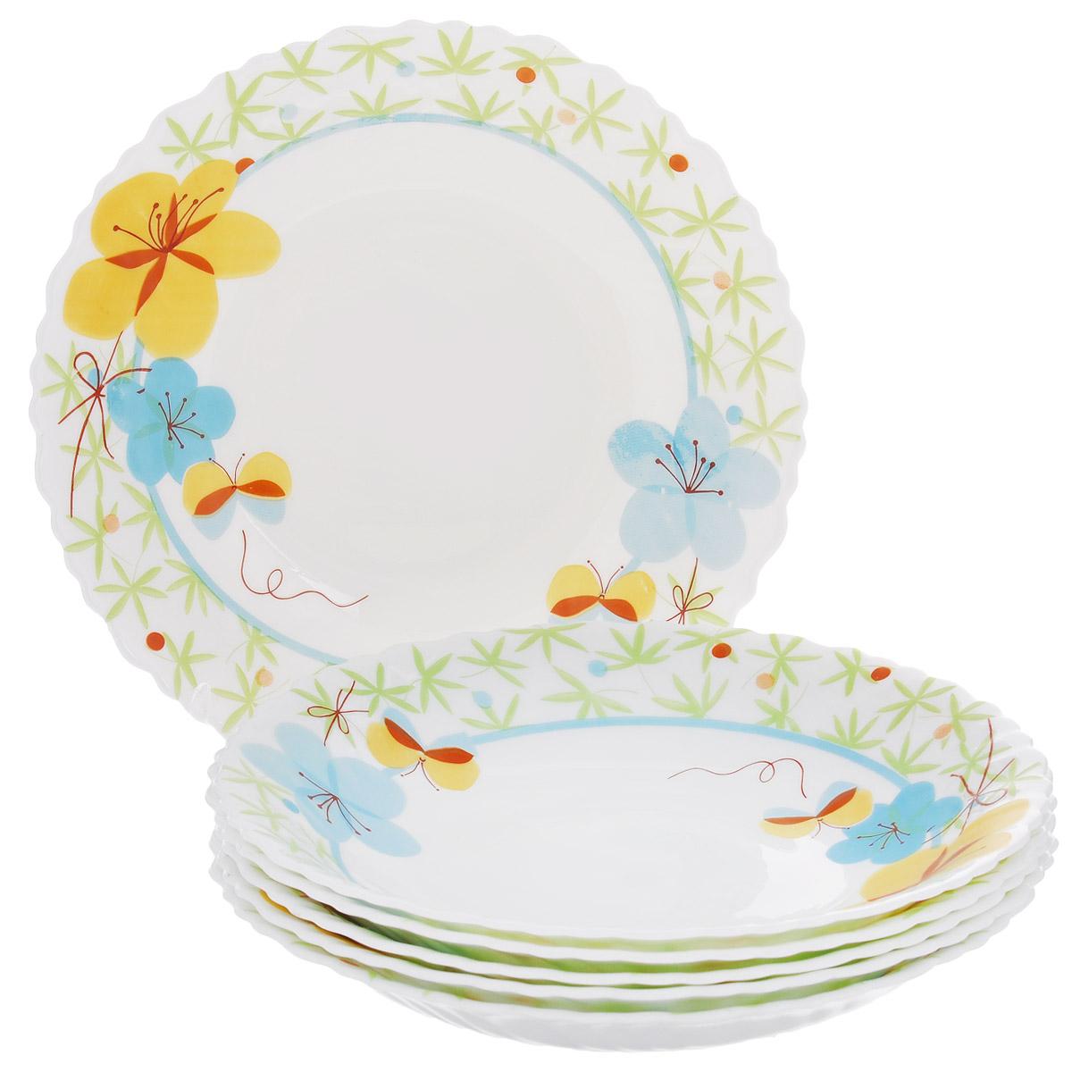 Набор глубоких тарелок Цветочки, диаметр 21,5 см, 6 штLHP85/6-1102Набор тарелок Цветочки, выполненный из высококачественного стекла, состоит из 6 глубоких тарелок. Тарелки украшены принтом в виде цветов и бабочек и фигурными краями. Они сочетают в себе изысканный дизайн с максимальной функциональностью. Оригинальность оформления тарелок придется по вкусу и ценителям классики, и тем, кто предпочитает утонченность и изящность. Набор тарелок Цветочки послужит отличным подарком к любому празднику.