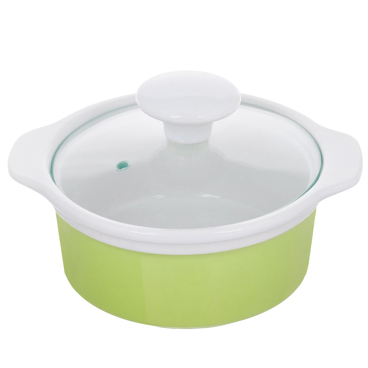 Кастрюля с крышкой, цвет: зеленый, 0,6 л. Кт CX002SCX002S-LG (F)Кастрюля выполнена из высококачественной глазурованной керамики и предназначена для запекания различных блюд. Крышка кастрюли изготовлена из стекла с керамической ручкой и отверстием для пара. Можно мыть в посудомоечной машине и использовать в духовом шкафу. Не пригодна для использования на газовой плите. Это идеальный подарок для современных хозяек, которые следят за своим здоровьем и здоровьем своей семьи. Эргономичный дизайн и функциональность позволят вам наслаждаться процессом приготовления любимых, полезных для здоровья блюд. Внутренний диаметр: 12 см. Ширина (с учетом ручек) 17,5 см. Высота стенки: 6,7 см.