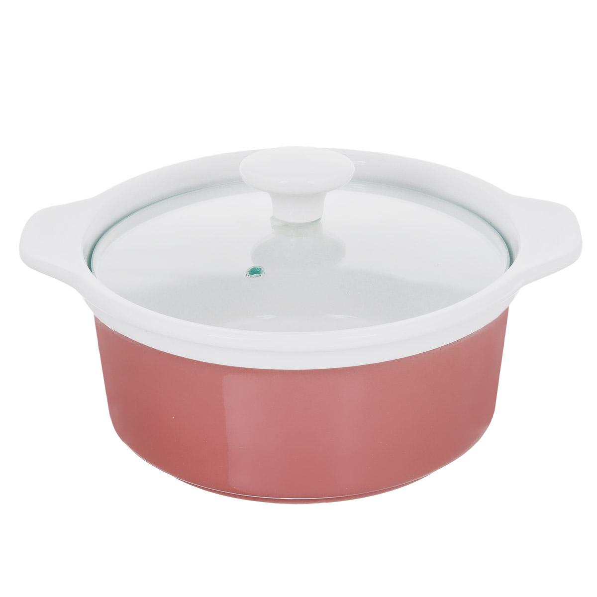 Кастрюля с крышкой, цвет: розовый, 1,2 л. Кт CX002CX002-PK (F)Кастрюля выполнена из высококачественной глазурованной керамики и предназначена для запекания различных блюд. Крышка кастрюли изготовлена из стекла с керамической ручкой и отверстием для пара. Можно мыть в посудомоечной машине и использовать в духовом шкафу. Не пригодна для использования на газовой плите. Это идеальный подарок для современных хозяек, которые следят за своим здоровьем и здоровьем своей семьи. Эргономичный дизайн и функциональность позволят вам наслаждаться процессом приготовления любимых, полезных для здоровья блюд. Внутренний диаметр: 16 см. Ширина кастрюли (с учетом ручек): 23 см. Высота стенки: 9 см.