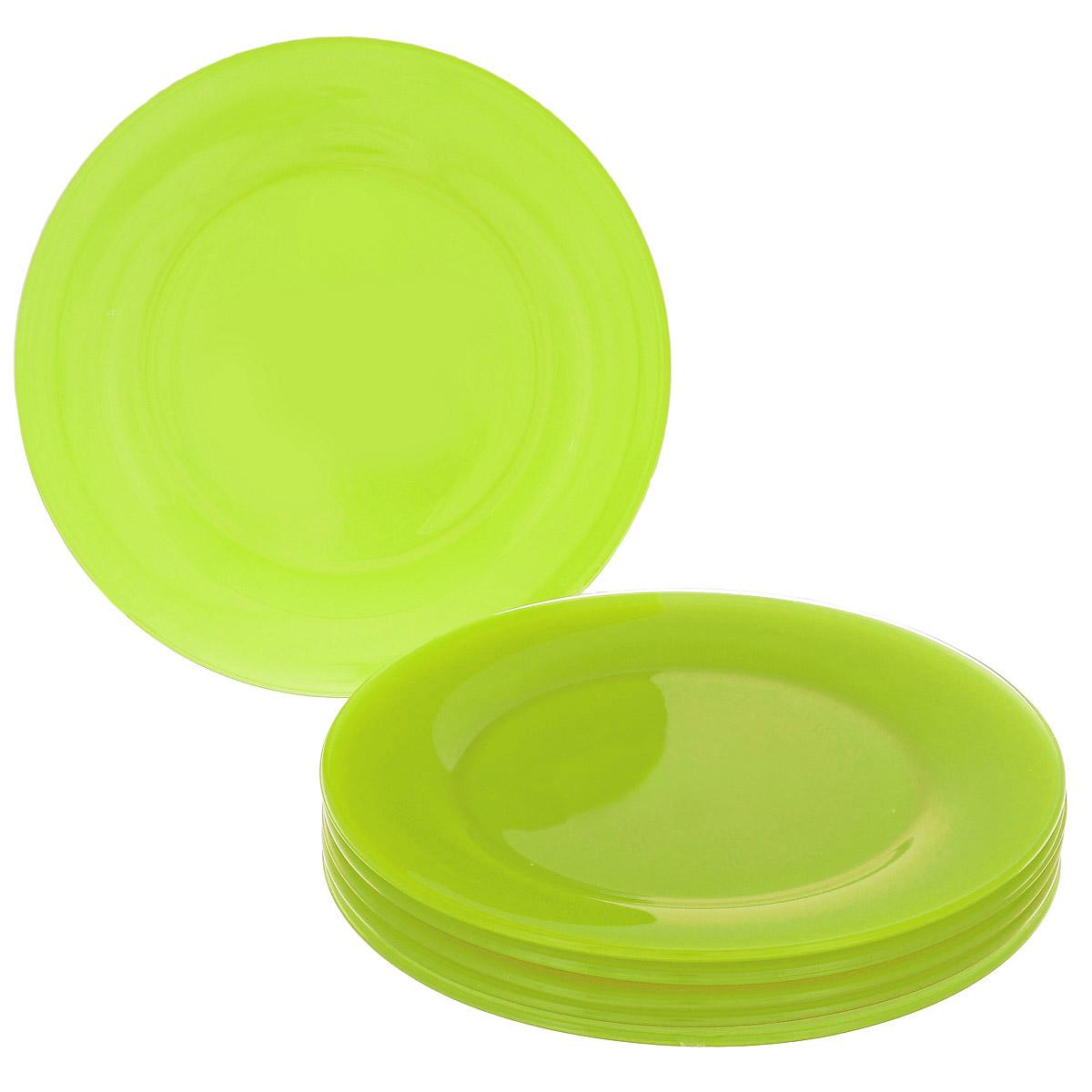 Набор тарелок, цвет: зеленый, диаметр 22 см, 6 шт. Кт FBP90TFBP90T-T0940-1Набор тарелок, выполненный из высококачественного стекла, состоит из 6 мелких тарелок. Они сочетают в себе изысканный дизайн с максимальной функциональностью. Оригинальность оформления тарелок придется по вкусу и ценителям классики, и тем, кто предпочитает утонченность и изящность. Набор тарелок послужит отличным подарком к любому празднику.