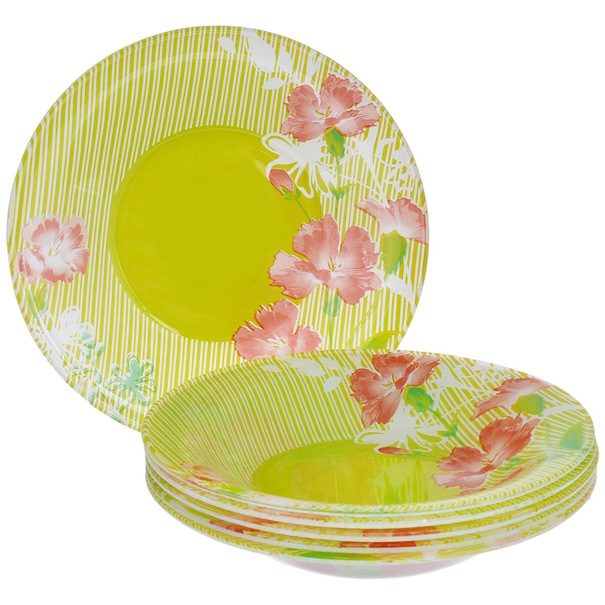 Набор глубоких тарелок Цветы, цвет: зеленый, диаметр 19 см, 6 штFSP75T-T0924Набор тарелок Цветы, выполненный из высококачественного стекла зеленого цвета, состоит из 6 глубоких тарелок. Тарелки оформлены изображением цветов. Они сочетают в себе изысканный дизайн с максимальной функциональностью. Оригинальность оформления тарелок придется по вкусу и ценителям классики, и тем, кто предпочитает утонченность и изящность. Набор тарелок послужит отличным подарком к любому празднику.