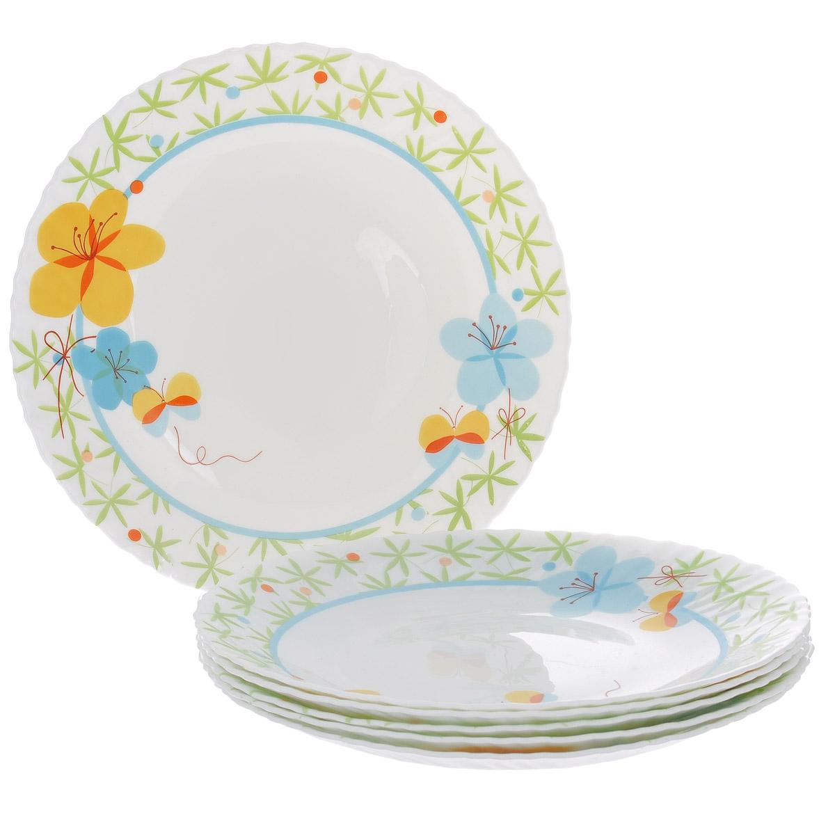 Набор тарелок Цветочки, диаметр 26 см, 6 шт. Кт LHP105/6-1102LHP105/6-1102Набор тарелок Цветочки, выполненный из высококачественного стекла, состоит из 6 мелких тарелок. Тарелки украшены принтом в виде цветов и бабочек и фигурными краями. Они сочетают в себе изысканный дизайн с максимальной функциональностью. Оригинальность оформления тарелок придется по вкусу и ценителям классики, и тем, кто предпочитает утонченность и изящность. Набор тарелок Цветочки послужит отличным подарком к любому празднику.