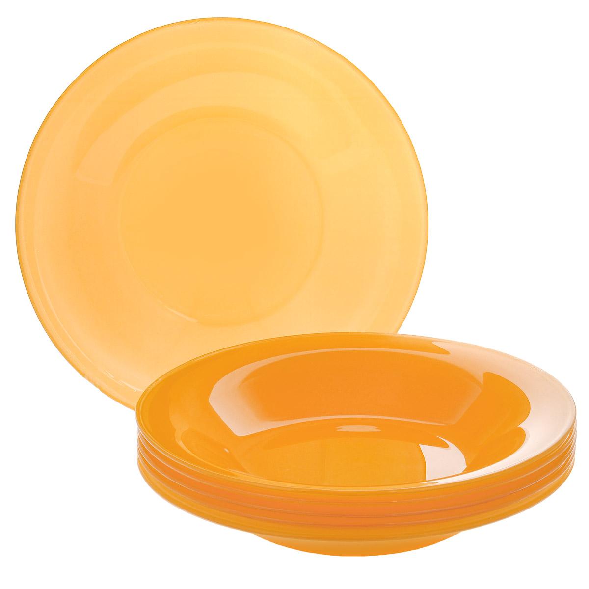 Набор глубоких тарелок, цвет: желтый, диаметр 19 см, 6 шт. Кт FSP75TFSP75T-T0935-1Набор тарелок, выполненный из высококачественного стекла, состоит из 6 глубоких тарелок. Они сочетают в себе изысканный дизайн с максимальной функциональностью. Оригинальность оформления тарелок придется по вкусу и ценителям классики, и тем, кто предпочитает утонченность и изящность. Набор тарелок послужит отличным подарком к любому празднику.