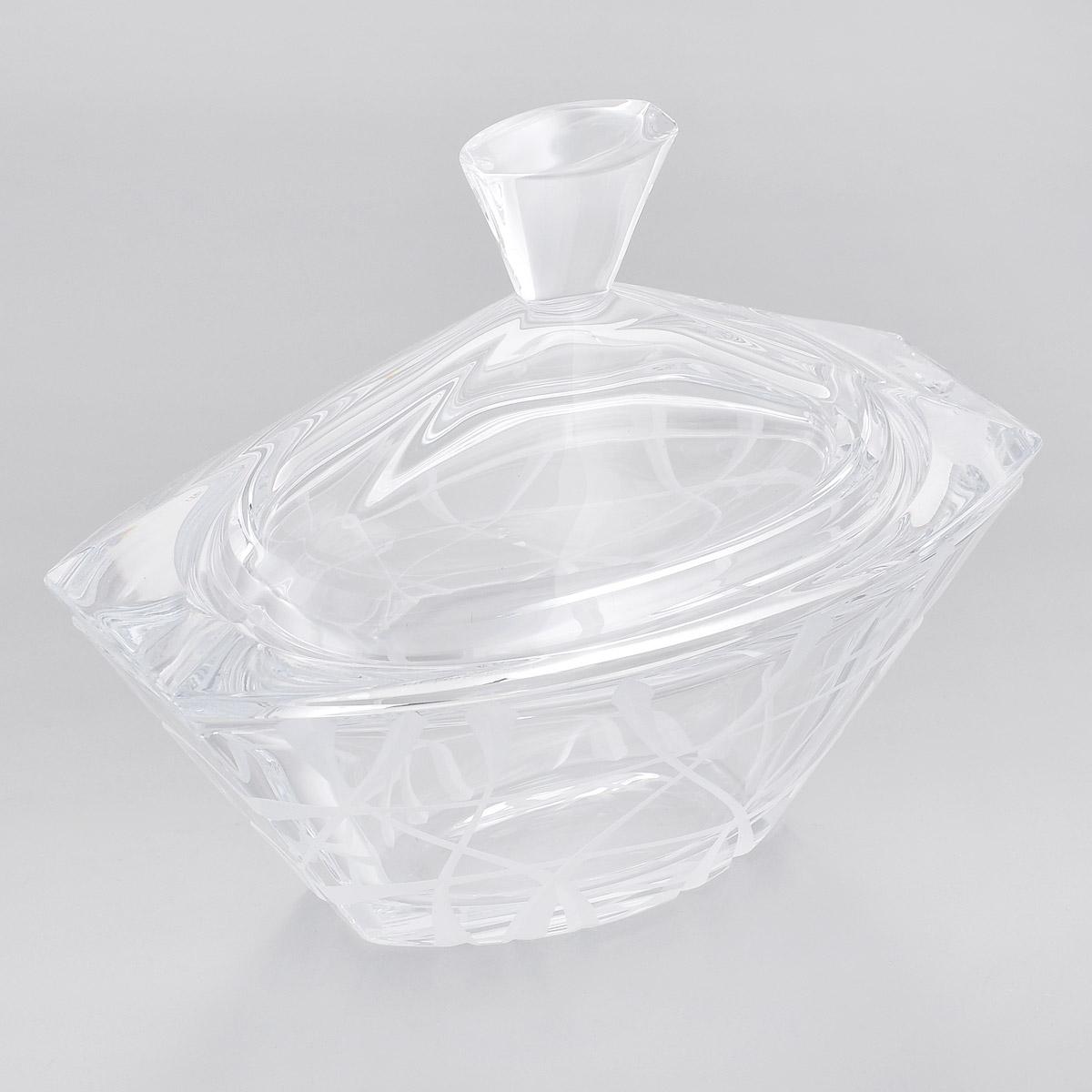 Шкатулка Crystalite Bohemia Луна, 18 см х 10 см5K806/1/07313/185Шкатулка Crystalite Bohemia Луна изготовлена из прочного утолщенного стекла кристалайт и оформлена рельефным узором. Шкатулка красиво переливается и излучает приятный блеск. Изделие подходит для хранения мелких вещей, также прекрасно послужит в качестве вазы для хранения конфет и других сладостей. Шкатулка оснащена крышкой. Шкатулка Crystalite Bohemia Луна - это изысканное украшение праздничного стола, интерьера кухни или комнаты. Такая шкатулка станет желанным и стильным подарком. Можно использовать в посудомоечной машине и микроволновой печи.