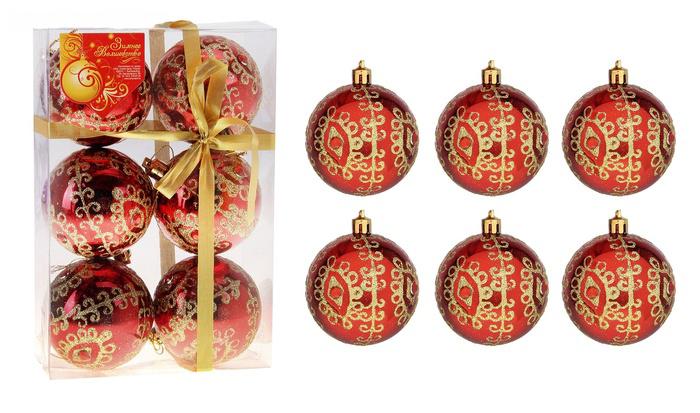 """Набор новогодних подвесных украшений Sima-land """"Шар"""", цвет: красный, диаметр 7 см, 6 шт. 685007"""