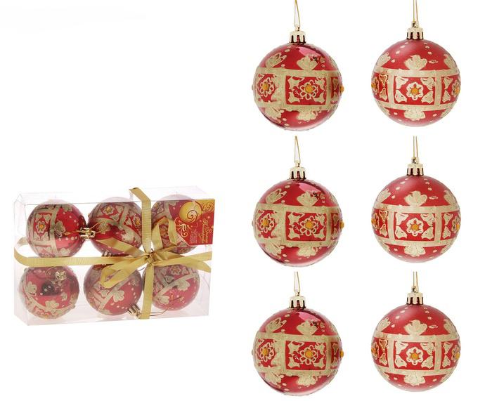Набор новогодних подвесных украшений Sima-land Шар, цвет: красный, диаметр 7 см, 6 шт. 685012685012Набор новогодних подвесных украшений Sima-land Шар прекрасно подойдет для праздничного декора новогодней ели. Набор состоит из 6 пластиковых шаров. Изделия украшены золотистыми цветочными узорами, покрытыми сверкающим глиттером, и желтыми стразами. Для удобного размещения на елке для каждого шара предусмотрена текстильная петелька. Елочная игрушка - символ Нового года. Она несет в себе волшебство и красоту праздника. Создайте в своем доме атмосферу веселья и радости, украшая новогоднюю елку нарядными игрушками, которые будут из года в год накапливать теплоту воспоминаний. Коллекция декоративных украшений принесет в ваш дом ни с чем несравнимое ощущение волшебства! Откройте для себя удивительный мир сказок и грез. Почувствуйте волшебные минуты ожидания праздника, создайте новогоднее настроение вашим дорогим и близким.