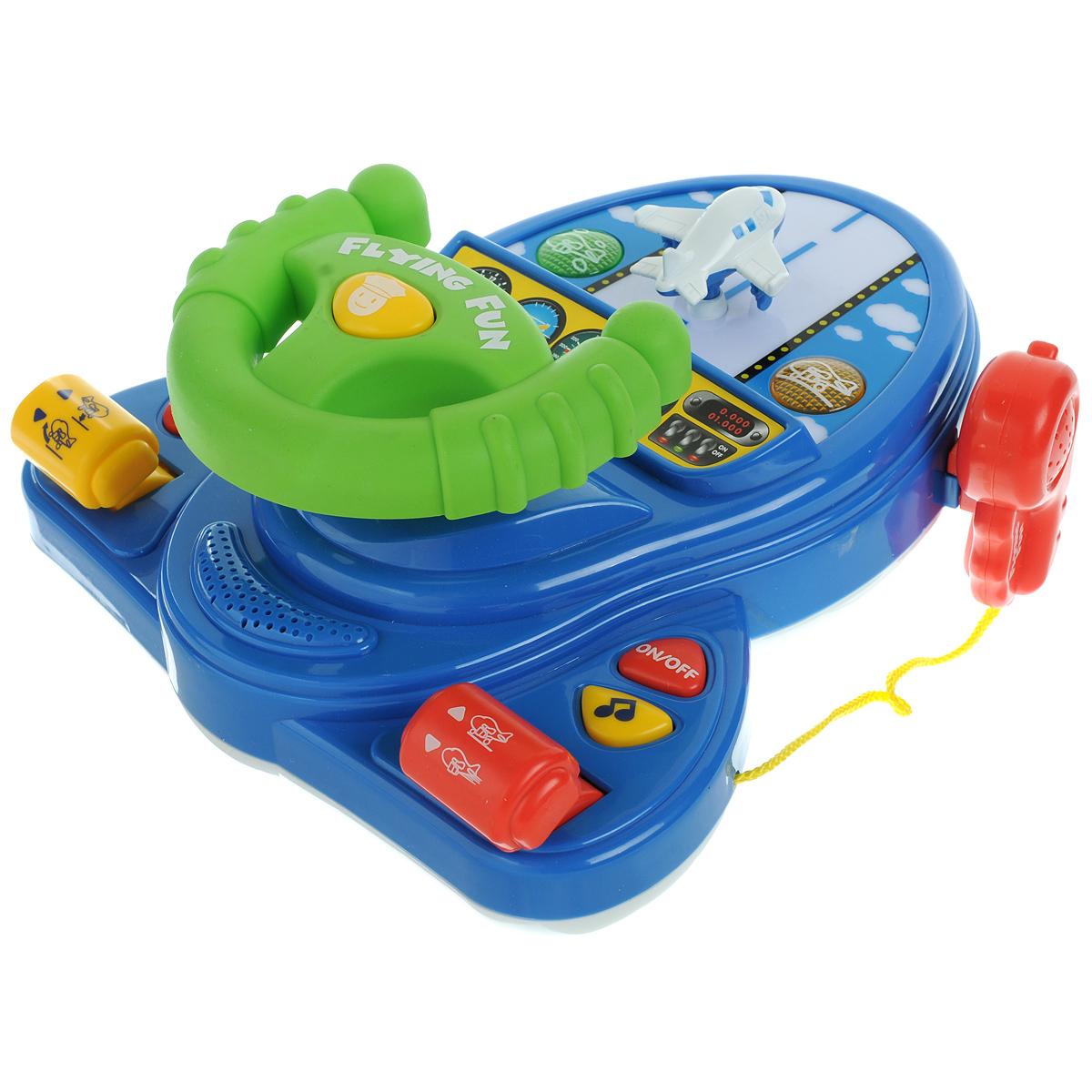 Keenway Развивающая игрушка Занимательное пилотирование13702Развивающая игрушка Keenway Занимательное пилотирование порадует малышей своей реалистичностью. Игрушка выполнена из яркого пластика и представляет собой платформу-тренажер со взлетной полосой для встроенного небольшого самолета, управляемого штурвалом, рацией, двумя рычагами управления, музыкальными кнопками и кнопкой включения/выключения. На штурвале находится кнопка, при нажатии которой звучит шифр на азбуке Морзе. При передвижении рычагов управления самолетом взлетная полоса начинает подсвечиваться, при этом мигают лампочки по ее сторонам и слышны реалистичные звуки летящего самолета. Музыкальные кнопки воспроизводят звуки непристегнутого ремня, сигнала бедствия SOS и веселую мелодию. С этой игрушкой ребенок почувствует себя пилотом, сидящим за настоящим штурвалом, а электронные звуки и световые эффекты добавят игре реалистичности. Развивающая игрушка Keenway Занимательное пилотирование несет в себе огромное количество развивающих функций, которые помогают ребенку...