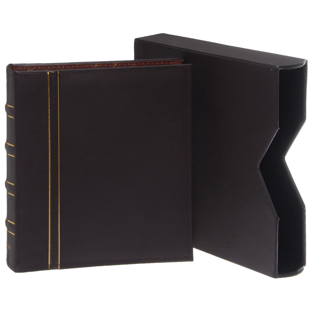 Альбом Numis, в шубере, без листов. Натуральная кожа. Цвет темно-коричневый. CLNUMSETL341937Альбом для банкнот Numis выполнен из натуральной кожи темно-коричневого цвета в классическом дизайне с подходящей защитной кассетой. Переплет с 4-кольцевой механикой.