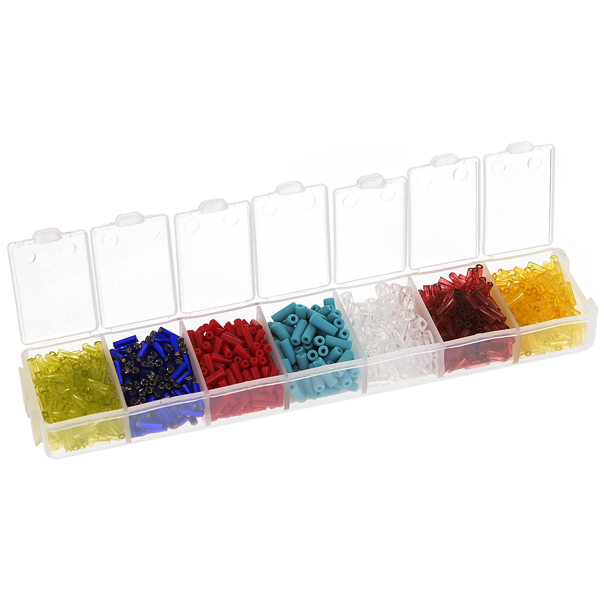 Набор стекляруса Preciosa Ассорти №1, 7 цветов, 90 г7704343Набор стекляруса Preciosa Ассорти №1 позволит вам своими руками создать оригинальные ожерелья, бусы или браслеты, а также заняться вышиванием. В бисероплетении часто используют стеклярус разных размеров и цветов. Он идеально подойдет для вышивания на предметах быта и женской одежде. Набор включает в себя стеклярус разных размеров и цветов: желтого, красного, темно-красного, прозрачного, бирюзового, синего и салатового. Предметы набора упакованы в пластиковую коробочку с семью отсеками. Изготовление украшений - занимательное хобби и реализация творческих способностей рукодельницы, это возможность создания неповторимого индивидуального подарка.