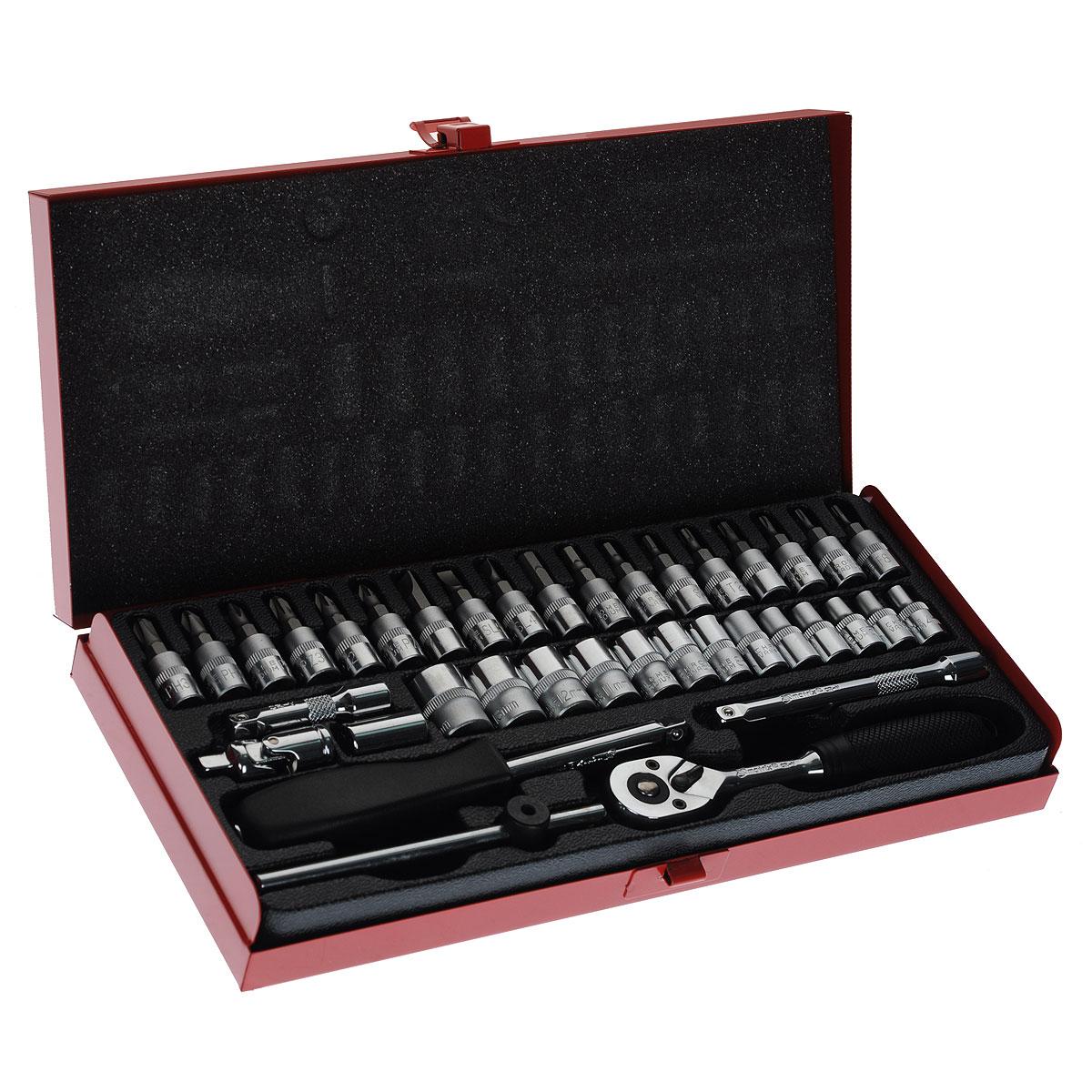 Набор слесарно-монтажный Matrix, 38 предметов13522Набор слесарно-монтажного инструмента Matrix предназначен для работы с резьбовыми соединениями. Инструмент изготовлен из хромованадиевой стали с хромированным покрытием, что обеспечивает высокое качество и долговечность. Состав набора: Биты-вставки: Hex 3 мм, 4 мм, 5 мм, 6 мм, SL4, SL5,5, SL7, PH1, PH2, PH3, PZ1, PZ2, PZ3, T8, T10, T15, T20, T25. Головки торцевые шестигранные 1/4: 4 мм, 4,5 мм, 5 мм, 5,5 мм, 6 мм, 7 мм, 8 мм, 9 мм, 10 мм, 11 мм, 12 мм, 13 мм, 14 мм. Карданный шарнир 1/4. Вороток отверточного типа 1/4. Вороток T-образный 1/4. Удлинитель 1/4 50 мм. Удлинитель 1/4 100 мм. Ключ трещоточный (45 зубьев) с эргономичной пластиковой ручкой, реверсом и механизмом разблокировки шарикового фиксатора. Битодержатель 1/4.