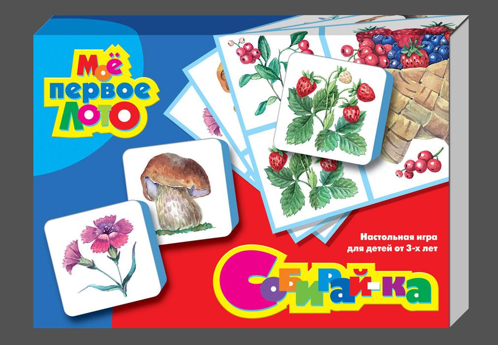 Лото Мое первое лото: Собирай-ка01279Лото Мое первое лото: Собирай-ка позволит вам и вашему малышу весело и с пользой провести время, ведь совместная игра - лучший способ узнать ребенка и научить его чему-нибудь новому. Комплект игры включает в себя 24 крупные мягкие фишки с красочными изображениями цветов, ягод, листьев, грибов, овощей и рыбы, а также 6 картонных карточек с соответствующими изображениями. Подробные правила 8 вариантов игры вы прочтете на обратной стороне упаковки. Малыши учатся определять и выбирать нужные изображения, закрывая ими карточки. Дети постарше стараются запомнить, а потом назвать предметы на картинках, которые переворачиваются изображением вниз. Можно играть в игры, указанные в правилах, а можно придумать свои собственные. Подбирая картинки, дети не только развивают внимательность, память, навыки общения, речь и кругозор, но и тренируют мелкую моторику рук. Лото рекомендуется использовать при введении и закреплении лексических и речевых единиц, для расширения словарного запаса,...