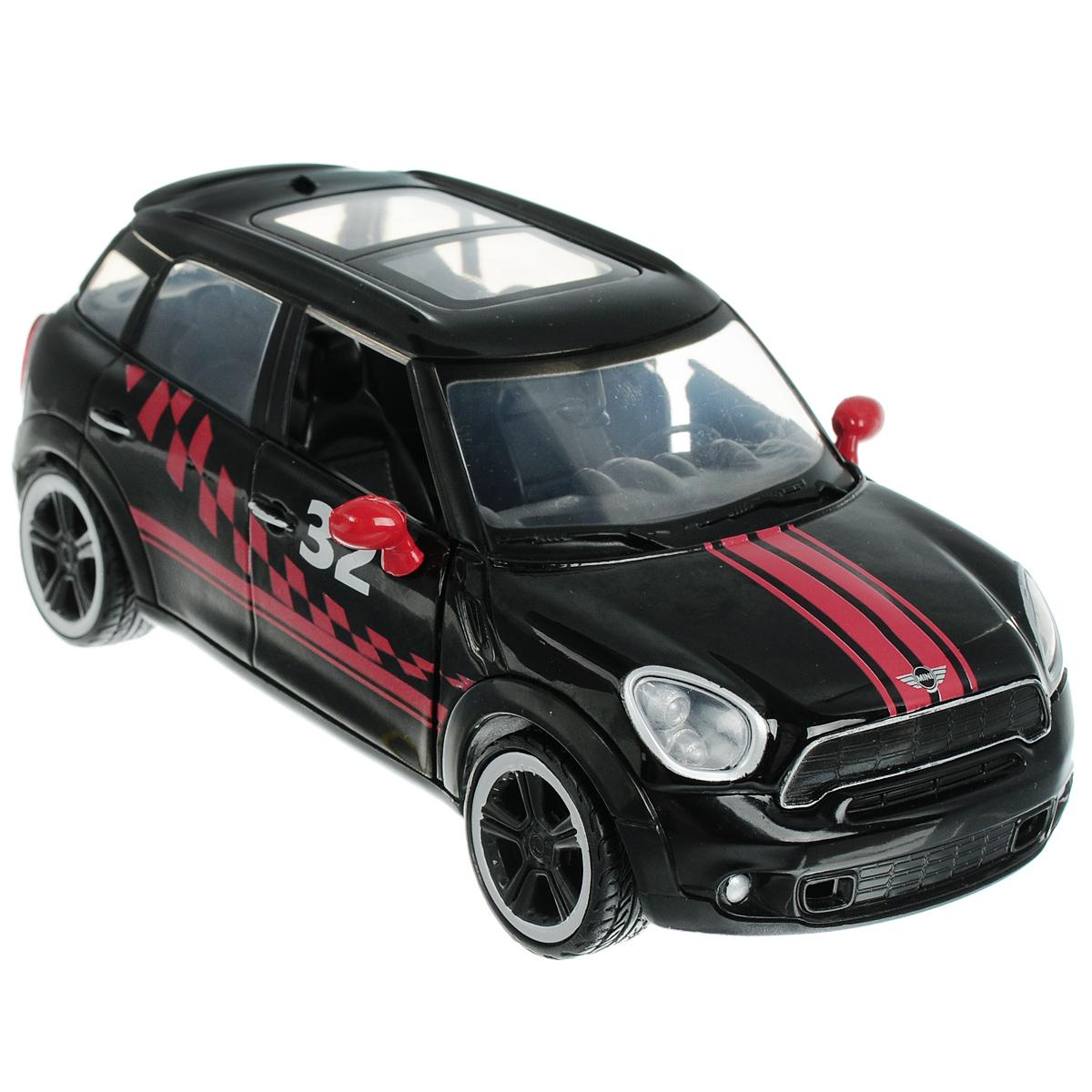 MotorMax Модель автомобиля Mini Cooper S Countryman73773Коллекционная модель MotorMax GT Racing Mini Cooper S Countryman станет хорошим подарком для любого ценителя автомобилей. Она имеет отличную детализацию и является уменьшенной копией настоящей машины. Коллекционная модель Mini Cooper S Countryman изготовлена в масштабе 1:24 и максимально приближена к своему прототипу. У автомобиля проработан интерьер салона, он имеет прорезиненные шины, а капот и дверцы открываются. Модель изготовлена из литого металла по технологии die cast, и декорирована пластиковыми элементами, оформленными в спортивном стиле. Этот великолепный автомобиль займет достойное место в любой коллекции, или игрушечном гараже маленького автолюбителя! Модель снабжена подставкой.