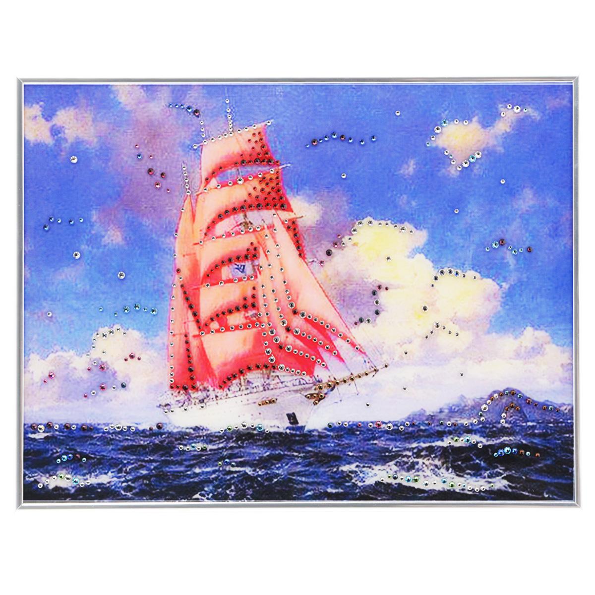 Картина с кристаллами Swarovski Алые Паруса, 40 см х 30 см1051Изящная картина в металлической раме, инкрустирована кристаллами Swarovski, которые отличаются четкой и ровной огранкой, ярким блеском и чистотой цвета. Красочное изображение кораблика с алыми парусами, расположенное под стеклом, прекрасно дополняет блеск кристаллов. С обратной стороны имеется металлическая петелька для размещения картины на стене. Картина с кристаллами Swarovski Алые Паруса элегантно украсит интерьер дома или офиса, а также станет прекрасным подарком, который обязательно понравится получателю. Блеск кристаллов в интерьере, что может быть сказочнее и удивительнее. Картина упакована в подарочную картонную коробку синего цвета и комплектуется сертификатом соответствия Swarovski.