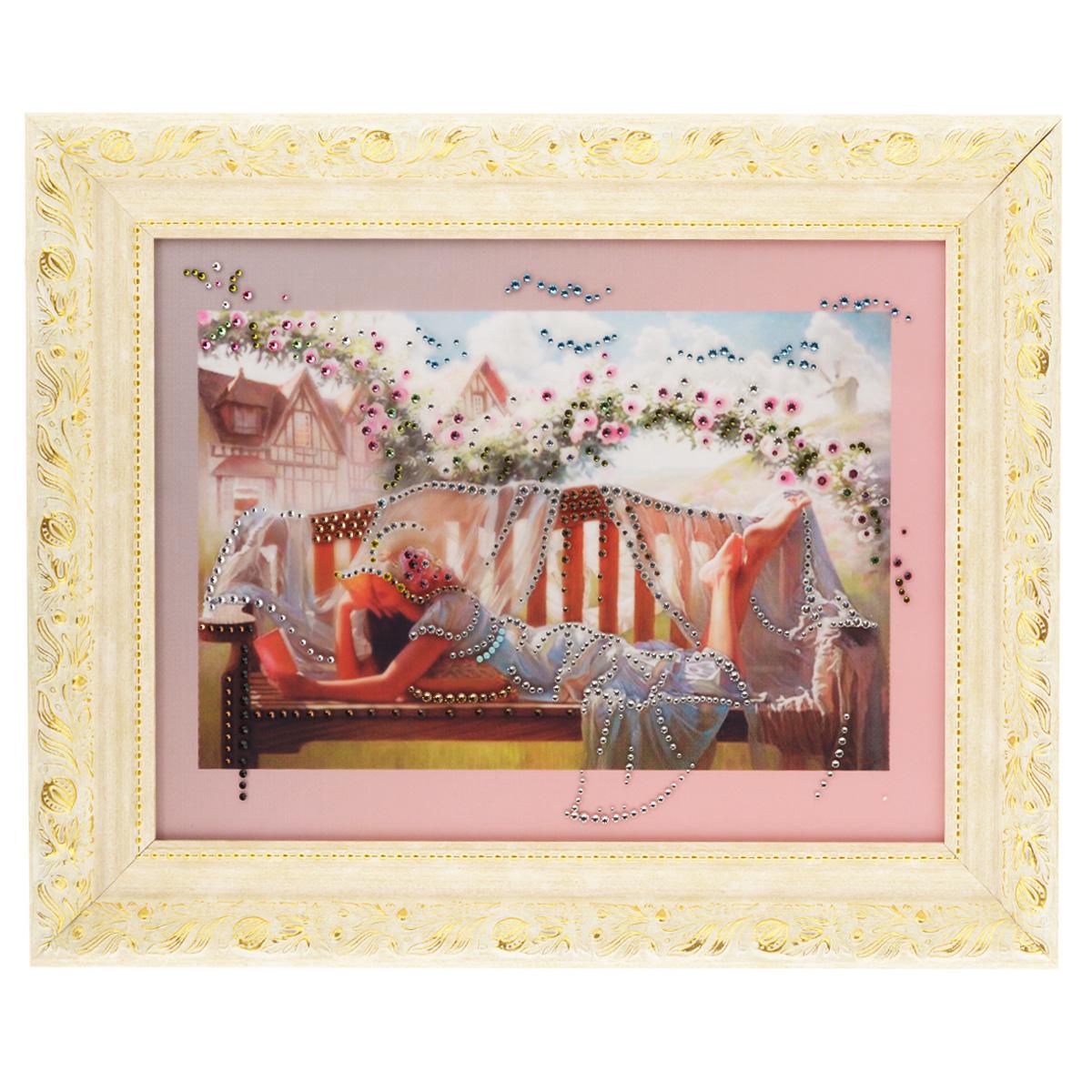 Картина с кристаллами Swarovski В саду, 50 см х 40 см1063Изящная картина в багетной раме, инкрустирована кристаллами Swarovski, которые отличаются четкой и ровной огранкой, ярким блеском и чистотой цвета. Красочное изображение девушки читающей книжку в саду, расположенное под стеклом, прекрасно дополняет блеск кристаллов. С обратной стороны имеется металлическая проволока для размещения картины на стене. Картина с кристаллами Swarovski В саду элегантно украсит интерьер дома или офиса, а также станет прекрасным подарком, который обязательно понравится получателю. Блеск кристаллов в интерьере, что может быть сказочнее и удивительнее. Картина упакована в подарочную картонную коробку синего цвета и комплектуется сертификатом соответствия Swarovski.