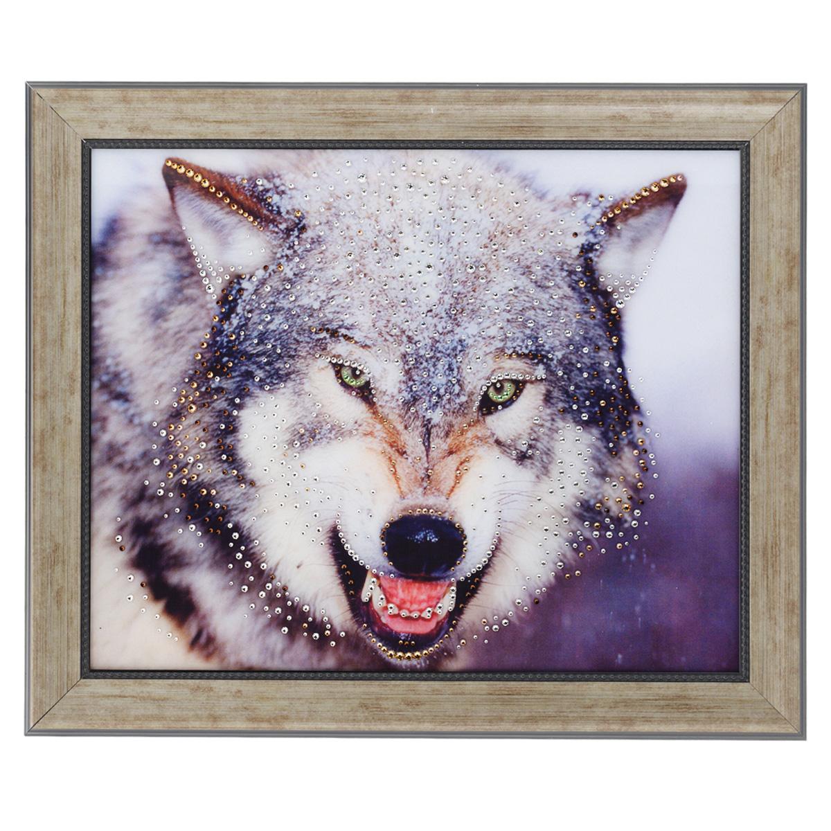 Картина с кристаллами Swarovski Волк, 60 х 50 см1074Изящная картина в багетной раме, инкрустирована кристаллами Swarovski, которые отличаются четкой и ровной огранкой, ярким блеском и чистотой цвета. Красочное изображение волка, расположенное под стеклом, прекрасно дополняет блеск кристаллов. С обратной стороны имеется металлическая проволока для размещения картины на стене. Картина с кристаллами Swarovski Волк элегантно украсит интерьер дома или офиса, а также станет прекрасным подарком, который обязательно понравится получателю. Блеск кристаллов в интерьере, что может быть сказочнее и удивительнее. Картина упакована в подарочную картонную коробку синего цвета и комплектуется сертификатом соответствия Swarovski.