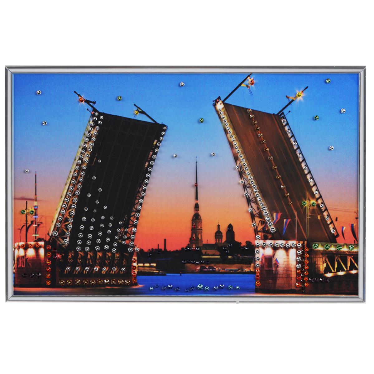Картина с кристаллами Swarovski Дворцовый мост, 30 см х 20 см1087Изящная картина в металлической раме, инкрустирована кристаллами Swarovski, которые отличаются четкой и ровной огранкой, ярким блеском и чистотой цвета. Красочное изображение дворцового моста, расположенное под стеклом, прекрасно дополняет блеск кристаллов. С обратной стороны имеется металлическая петелька для размещения картины на стене. Картина с кристаллами Swarovski Дворцовый мост элегантно украсит интерьер дома или офиса, а также станет прекрасным подарком, который обязательно понравится получателю. Блеск кристаллов в интерьере, что может быть сказочнее и удивительнее. Картина упакована в подарочную картонную коробку синего цвета и комплектуется сертификатом соответствия Swarovski.